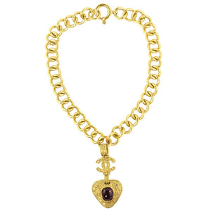 Chanel Vintage Signed Gold Chain Maroon Gripoix Filigree CC Heart Pendant Necklace SS94