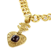 Load image into Gallery viewer, Chanel Vintage Signed Gold Chain Maroon Gripoix Filigree CC Heart Pendant Necklace SS94