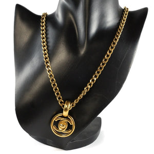 Chanel Vintage Signed Chanel Gold Chain Classic CC Pendant Necklace with CC Clasp - 91