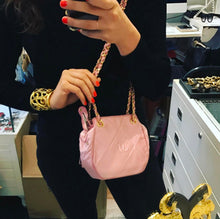 Load image into Gallery viewer, Chanel Vintage Pink Suede Evening Bag with Gold Chain Shoulder Bag c. 1990