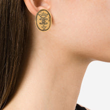 Load image into Gallery viewer, Vintage Signed Chanel Paris Oval Hammered Earrings c.1970- (Clip on Earring)