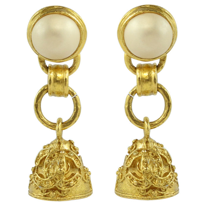 Chanel Vintage Signed Faux Pearl & Gold Tone Fretwork Bell Earrings - 1994 (Clip-on)