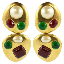 Load image into Gallery viewer, Chanel Vintage Rare Red & Green Gripoix Gold Tone Drop Earrings - 1993 (Clip-on)