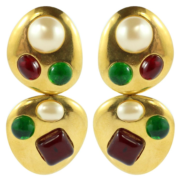 Chanel Vintage Rare Red & Green Gripoix Gold Tone Drop Earrings - 1993 (Clip-on)