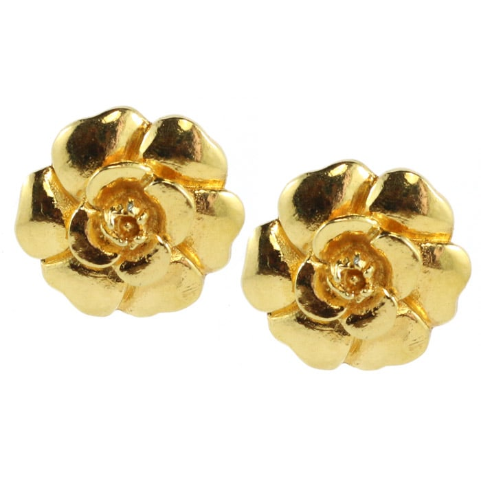 Chanel Vintage Signed Gold Camellia Flower Earrings c. 1980 (Clip-On)