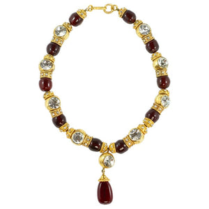 Chanel Vintage Red Gripoix & Crystal Choker Necklace. 1970