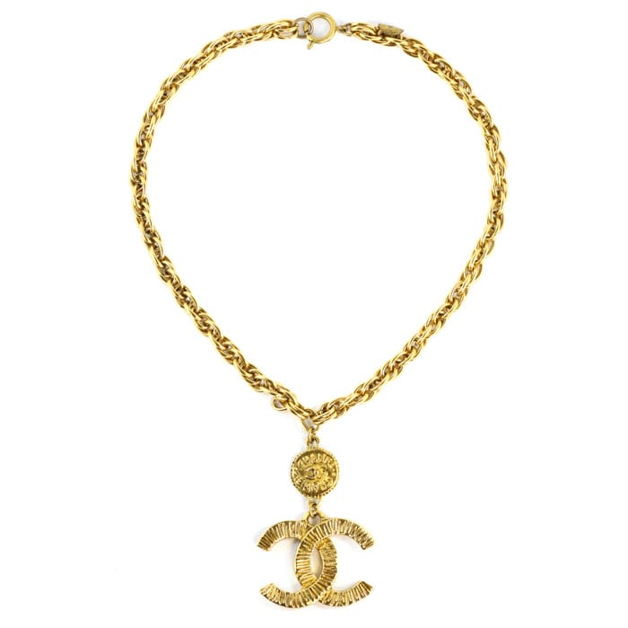 Chanel Vintage Gold-tone Short Necklace with CC Logo & Coin c. 1970