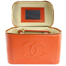 Load image into Gallery viewer, Chanel Vintage Orange Caviar Leather Beauty Case c. 2000s