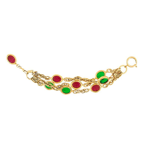 Chanel Vintage Signed Red & Green Gripoix Triple Strand Bracelet c. 1970