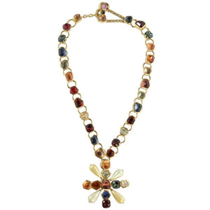 Chanel Vintage Signed Multi Coloured Gripoix Maltese Pendant Necklace - 2001