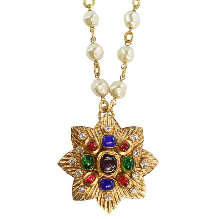 Chanel Vintage Long Pearl Necklace with Multi Coloured Gripoix Star Pendant - 1985