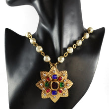 Load image into Gallery viewer, Chanel Vintage Long Pearl Necklace with Multi Coloured Gripoix Star Pendant - 1985