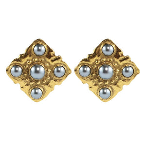 Chanel Vintage Signed Grey Faux Pearl Square Earrings c. 1980 (Clip-on)
