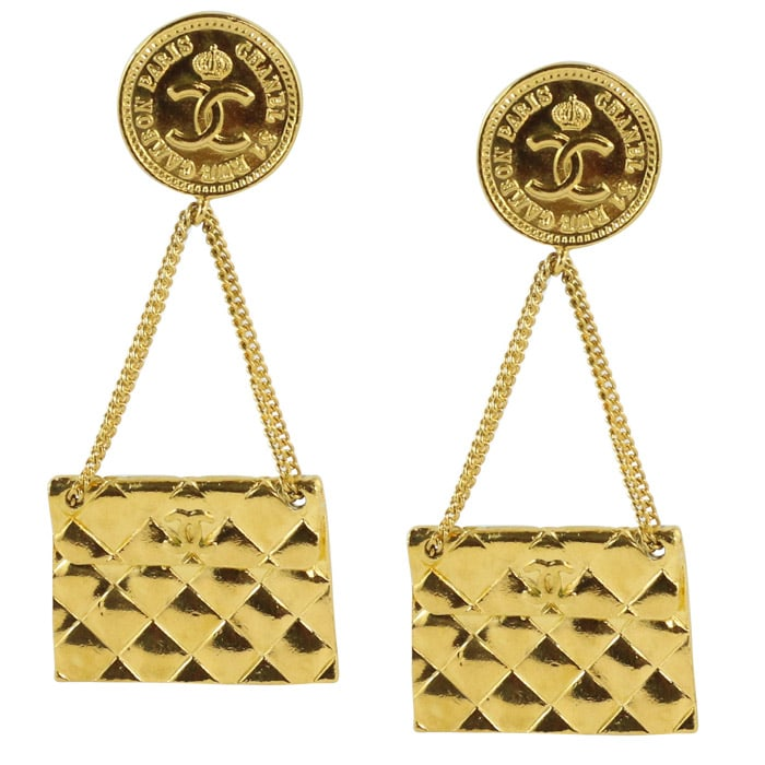 Chanel Vintage Signed Gold Quilted Bag Chain Earrings c. 1980 (Clip-on)
