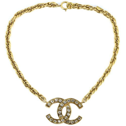 Chanel Vintage Signed Gold Chain Classic CC Logo Necklace with Crystals- c. 1970