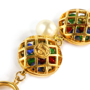 Chanel Vintage Rare Signed Multi Coloured Gripoix - Gold Tone Cage Necklace with Faux Pearls c. 1980