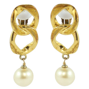 Chanel Vintage Signed Creme Faux Pearl Chain Drop Earrings c. 1980 (Clip-on)