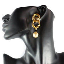 Load image into Gallery viewer, Chanel Vintage Signed Creme Faux Pearl Chain Drop Earrings c. 1980 (Clip-on)
