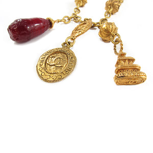 Rare Chanel Vintage Signed Gripoix Charm Pendent Necklace c. 1970