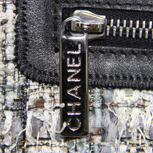 Load image into Gallery viewer, Chanel Blue & Grey Checked Pattern Tweed Camellia Shoulder Strap Bag