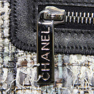 Chanel Blue & Grey Checked Pattern Tweed Camellia Shoulder Strap Bag