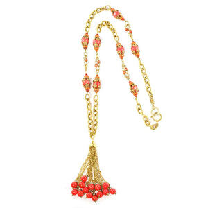Chanel Rare Vintage Faux Coral Glass Bead, Crystal, Pearl Tassel Necklace c.1990