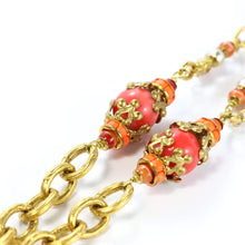 Load image into Gallery viewer, Chanel Rare Vintage Faux Coral Glass Bead, Crystal, Pearl Tassel Necklace c.1990
