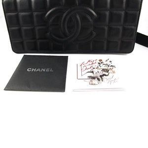Vintage Chanel Black Lambskin Chocolate Bar Evening Bag c. 1980's