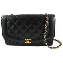 Load image into Gallery viewer, Vintage Chanel Black Lambskin Classic Gold Chain Single Flap Shoulder Bag c. 1980's