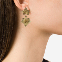 Load image into Gallery viewer, Christian Dior Signed Vintage Gold Tone Leaf Design Drop Earrings c. 1970