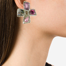 Load image into Gallery viewer, Christian Lacroix Signed Vintage Silver-Tone & Pink Bejewelled Cross Earrings c. 1990 (Clip-on)