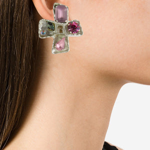 Christian Lacroix Signed Vintage Silver-Tone & Pink Bejewelled Cross Earrings c. 1990 (Clip-on)