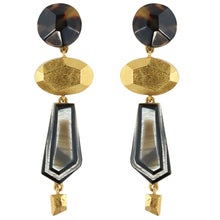 Load image into Gallery viewer, Christian Lacroix Signed Vintage Tortoiseshell Resin & Gold Tone Abstract Drop Earrings c. 1980