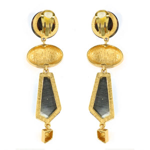 Christian Lacroix Signed Vintage Tortoiseshell Resin & Gold Tone Abstract Drop Earrings c. 1980