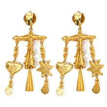 Load image into Gallery viewer, Christian Lacroix Signed Vintage Star & Heart Large Statement Earrings c. 1980