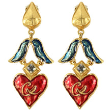 Load image into Gallery viewer, Christian Lacroix Signed Vintage Blue & Red Enamelled Gold Tone Heart Drop Earrings c. 1980