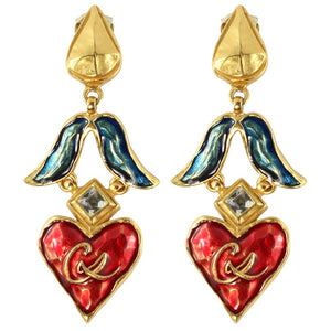 Christian Lacroix Signed Vintage Blue & Red Enamelled Gold Tone Heart Drop Earrings c. 1980