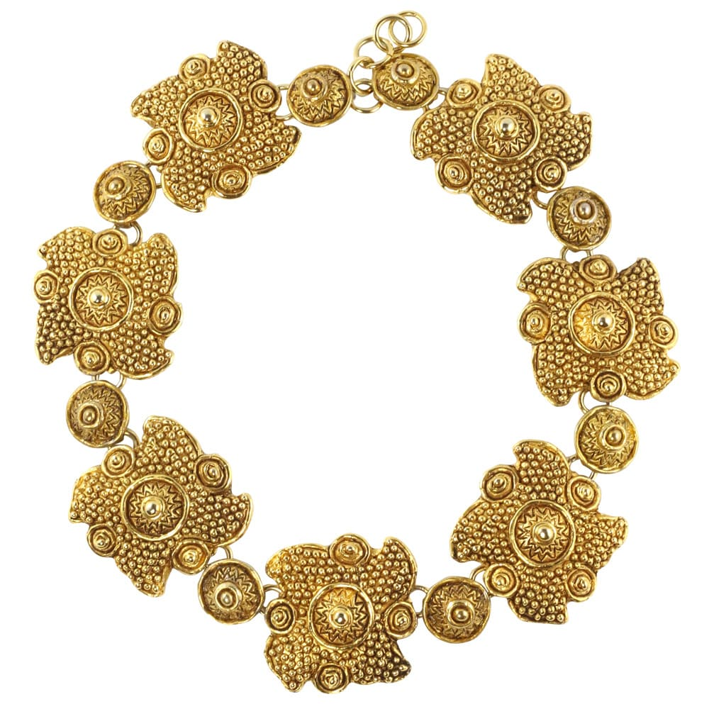 Christian Lacroix Vintage Flower Design Brushed Gold Statement Necklace c. 1980