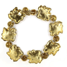 Load image into Gallery viewer, Christian Lacroix Vintage Flower Design Brushed Gold Statement Necklace c. 1980