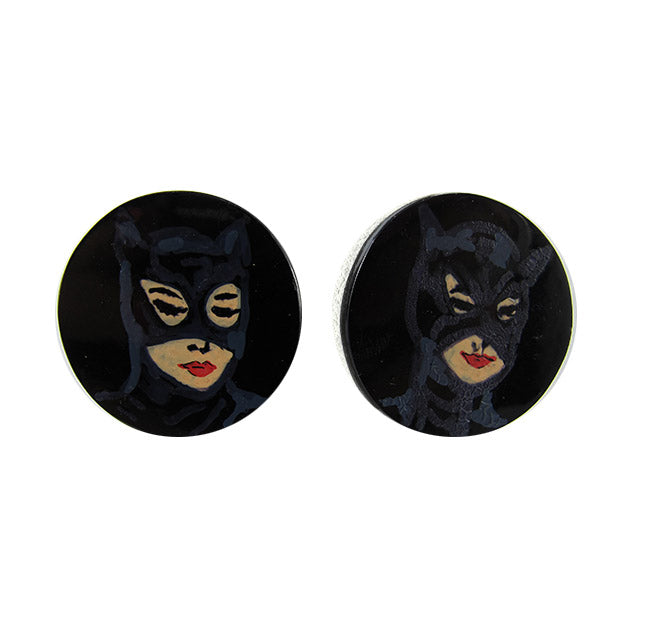 Hand Painted 'Cat Woman' Plastic Earrings