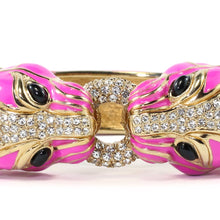 Load image into Gallery viewer, Ciner NYC 18K Gold Plated Pink Enamelled, Crystal Tiger Design Bracelet