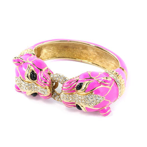 Ciner NYC 18K Gold Plated Pink Enamelled, Crystal Tiger Design Bracelet