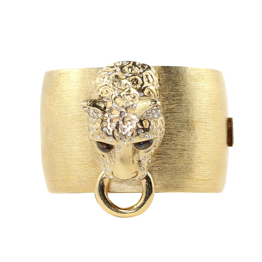 Ciner NYC 18K Brushed Gold Plated Tiger Door Knocker Bangle