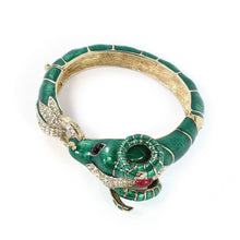 Load image into Gallery viewer, Ciner NYC 18K Gold Plated Green Enamelled, Crystal Ram Head Design Bracelet