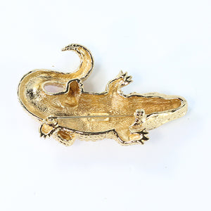 Ciner NYC 18K Gold Plated Alligator Pin Brooch