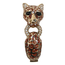 Load image into Gallery viewer, Ciner NYC 24K Gold Plated Enamelled, Crystal Cheetah Design Bracelet