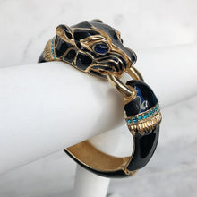 Load image into Gallery viewer, Ciner NYC 24K Gold Plated Black Enamelled, Crystal Tiger Design Bracelet