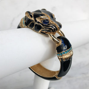 Ciner NYC 24K Gold Plated Black Enamelled, Crystal Tiger Design Bracelet