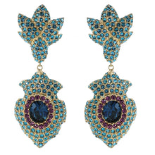 Load image into Gallery viewer, Ciner NYC Pavéd Crystal Statement Earrings - Aquamarine, Violet, Montana Blue