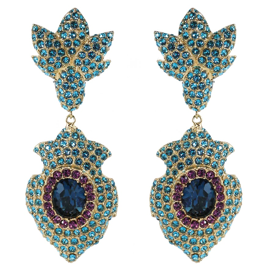 Ciner NYC Pavéd Crystal Statement Earrings - Aquamarine, Violet, Montana Blue